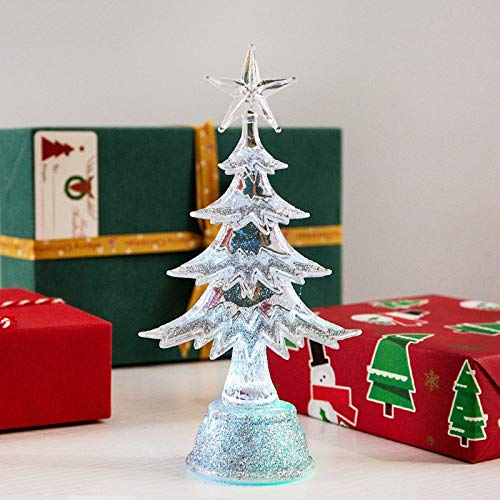 KEAIDO 6.5 Inch Tabletop Christmas Prelit Tree LED Light, Mini Desktop Tree Ornament Lamp Holiday Decoration Xmas Party Supplies (Silver)