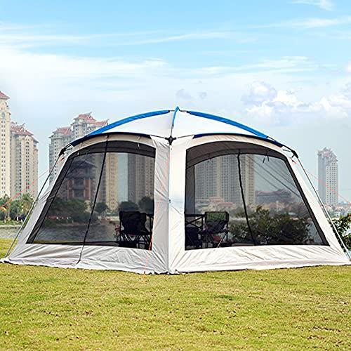 Qweidown Carpa de Jardín Grande 3,6x3,6m, Outdoor Cenador Plegable para Camping Festivales Impermeable, Event Shelter con 4 Mosquitera Paredes Laterales, 5-8 Personas, Montaje Rápido