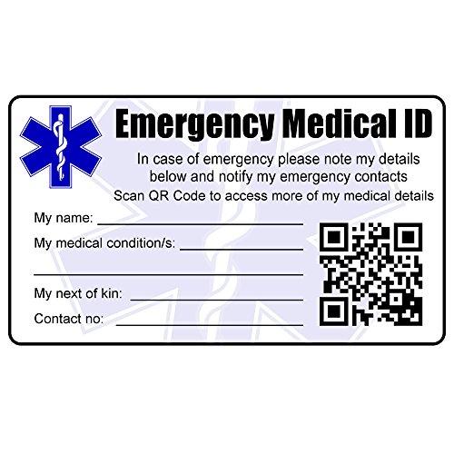 Medical Identität Notfall ID Kreditkarte Größe passt Brieftasche oder Geldbeutel. bedruckt mit persönlichen Details, Foto ID, Bedingungen, Kontakte, Next of Kin. QR-Code & NFC Versionen Optionen erhältlich