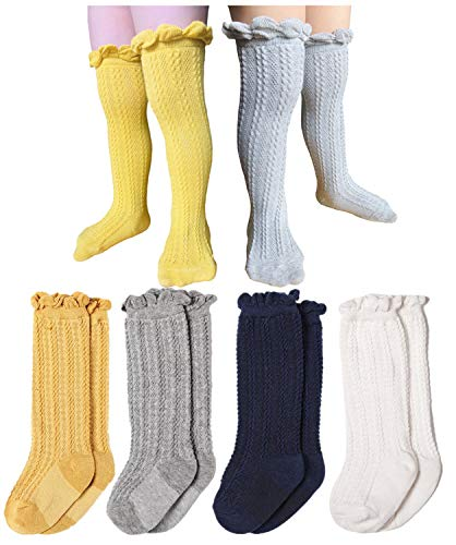 Toptim 4 Pairs Baby Toddlers Cable Knit Knee High Socks for Boy and Girls (Gray,White,Yellow,Navy Blue, 0-12 Months)