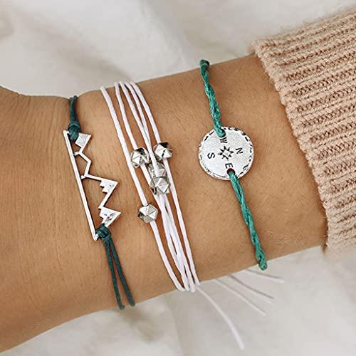Branets - Juego de pulseras de brújula en capas Boho, pulsera de montaña de plata con cuentas, cadena de mano, accesorios de joyería para mujeres y niñas (3 piezas)