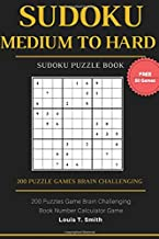 Sudoku Medium to Hard: 200 Puzzles Game Brain Challenging Books Teen Adult, 1 Puzzle per Page with Free 50 Sudoku Randomly Level Games