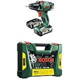 Bosch Perceuse-Visseuse 'Expert' sans Fil PSR 18 Li-2, Coffret 2 Batteries 2,5 Ah, Technologie Syneon + V-Line Coffret de 83 Outils de perçage/vissage