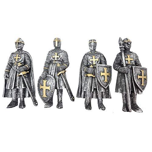 Nemesis Now - Juego de 4 imanes para nevera, diseño de caballero medieval, color plateado y dorado, talla única