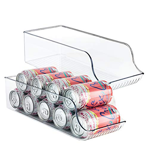 Homeries Can Drink Holder Storage & Dispenser Bin for Refrigerator, Freezer, Countertop, Cabinets & Pantry - Pack of 2 - Holds Up To 9 Cans (7oz) - Beverage & Canned Food Organizer