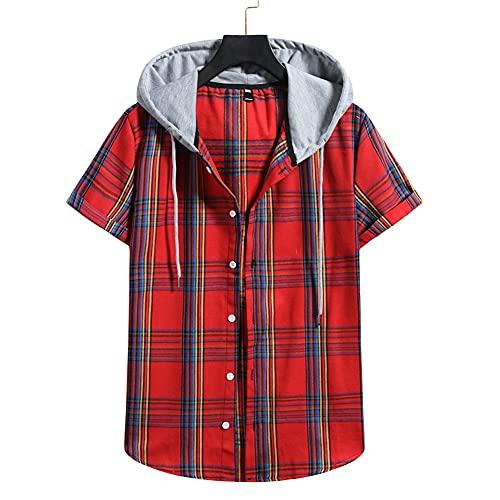 Men Hoodie Casual Checkered Men Short-Sleeved Summer Lightweight Comfortable Loose Men'S Shirt Sport Urban Fashion Modern Classic Men'S Sport Shirt E-Red 2 M