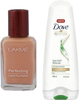 Lakme Perfecting Liquid Foundation, Pearl, 27ml & Dove Hair Fall Rescue Conditioner, 180ml