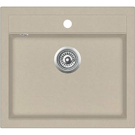 with Extra-deep Single Basin Sleek Design Granite with Basket Strainer 425 x 500 mm Grey mewmewcat Overmount Kitchen Sink