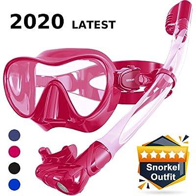 Keystand Scuba Mask and Snorkel Set - Foldable Snorkel Gear, Detachable Anti-Splash Breathing System Diving Mask, Anti Fog Anti Leak Tempered Glass, Frameless Snorkle Goggles for Adult Youth Kids