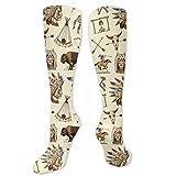Pata de gallo Impresión 3D Calcetines largos hasta la rodilla Medias Calientapiernas Calcetines 50cm