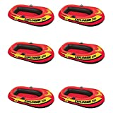 Intex Explorer 200 Inflatable 2 Person Boat Raft Set w/ 2 Oars & Pump (6 Pack)