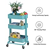 <span class='highlight'><span class='highlight'>CLIPOP</span></span> 3 Tiers Kitchen Trolley Cart Storage Rack Trolley Mesh Basket Standing Shelf with Wheels Serving Trolley for Home,Kitchen, Restaurant (Blue)