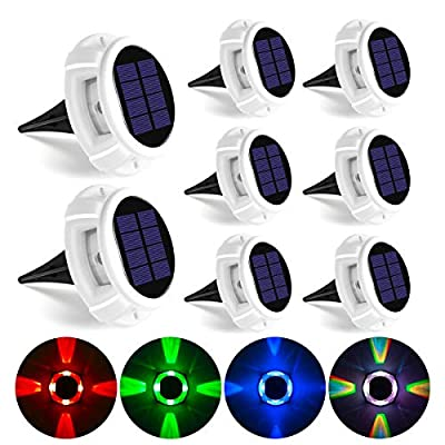 GIGALUMI Solar Deck Lights Outdoor, Solar Ground Lights with 5 Lighting Modes, Bright RGB Color Waterproof Disk Lights for Dock, Garden, Ground, Stair, Driveway, Pathway, Landscape?8 Pack?