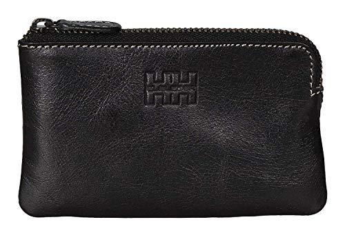 Elbleder Schlüsseletui Leder Schwarz Vintage auch als Echtleder Mini-Geldbörse Damen Herren RFID Schutz Blocker für Kreditkarten und Bankkarten Schlüsseltasche Schlüsselmäppchen Schlüsselmappe