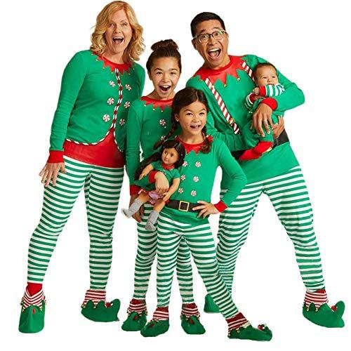 Tkria Matching Family Pajamas Christmas Elf Long Sleeve Sleepwear Cotton Kid PJs Green/Red