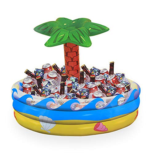 Ram-Pro Palm Tree Oasis Inflatable Party Cooler Durable Summer Inflatable Water Floats Tropical Pool Toys Beverage Cooler Beach Leisure Cup Bottle Drink Holder Water Fun Decorations Toy