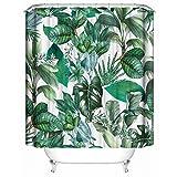 Litthing Duschvorhang 180x180 Anti-Schimmel & Wasserabweisend Shower Curtain mit 12 Duschvorhangringen 3D Digitaldruck Grüne Pflanze mit lebendigen Farben (23)