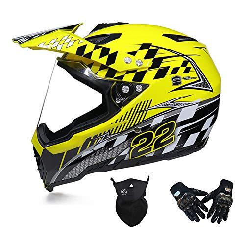 MRDEAR Conjunto de Casco Cross (Casco MTB Integral/Guantes/Máscara) Casco Motocross con Visera,...