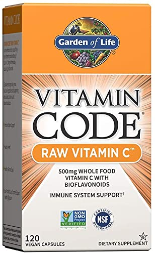 Garden of Life Vitamin C - Vitamin Code Raw Vitamin C - 120 Vegan Capsules, 500mg Whole Food Vitamin C with Bioflavonoids, Fruits & Veggies, Probiotics, Gluten Free Vitamin C Supplements for Adults