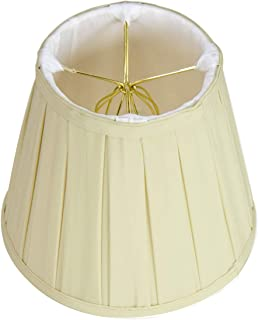 5x8x7 Empire Box Pleat Eggshell Lampshade with Shantung fabric and White Liner with brass spider fitter By Home Concept - Perfect for small table lamps, desk lamps, and accent lights -Small, Egg Shell