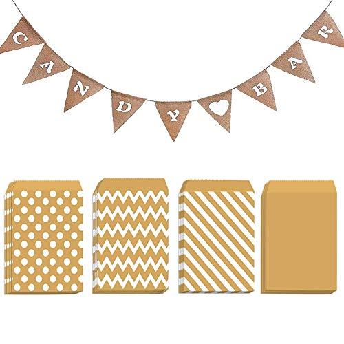 U&X Bolsas de papel de regalo para caramelos, 100 unidades y guirnalda de candy bar, guirnalda de lino, para bodas, fiestas, cumpleaños, decoración de eventos