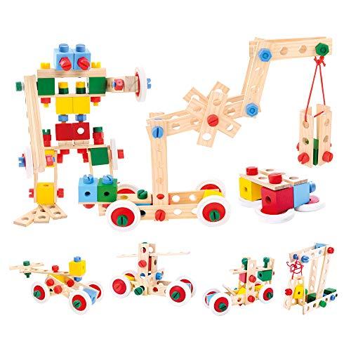 Bino Holz-Baukasten im Eimer, Spielzeug für Kinder ab 3 Jahre, Kinderspielzeug (Konstruktionsspielzeug, 120 teilig, zum Bauen von allerlei Konstruktionen, Motorikspielzeug aus Holz), Mehrfarbig