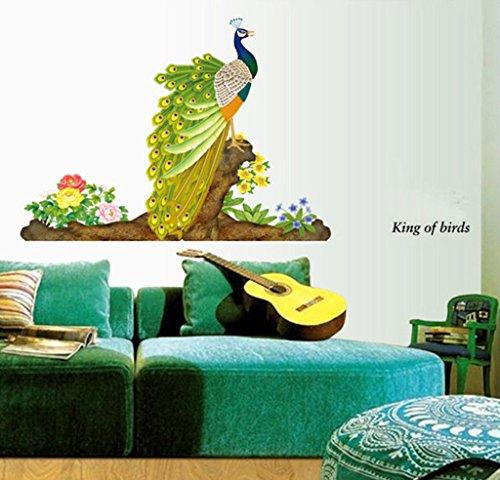 Decals Design 'Peacock Bird' Wall Sticker (PVC Vinyl, 60 cm x 90 cm, Multicolour)