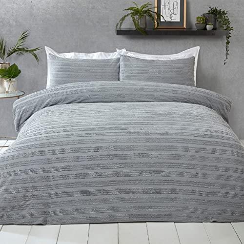 Sleepdown Tufted Stripe Grey 100% Cotton Luxury Easy Care Soft Cosy Duvet...