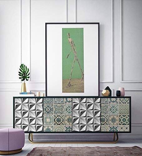 WALPLUS FW4914-COM-WM5112x2/WM5114x2 3D noordelijke ster patroon en groene tegels zelfklevende sticker meubelfolie, vinyl, meerkleurig, 64 x 5,5 x 5,5 cm
