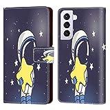 UZEUZA Funda tipo cartera para Samsung Galaxy S21 Plus Gambar Luar Angkasa Kartun Cartoon Phone Case con soporte de soporte, ranuras para tarjetas, funda con tapa para Samsung Galaxy S21 Plus