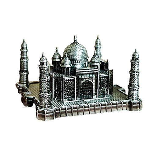 Amusingtao World Building Model Ornaments Souvenir Mini Office Taj Mahal Zinc Alloy Crafts Home Decor Famous Landmark Desk Collection Retro Gift(LGrey)
