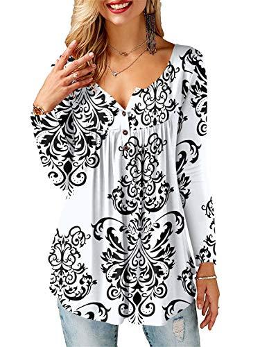 AMORETU Tunika Damen Blumen T-Shirt V Ausschnitt Knopfleiste Bluse Oberteil,1-weiß,48(XL)