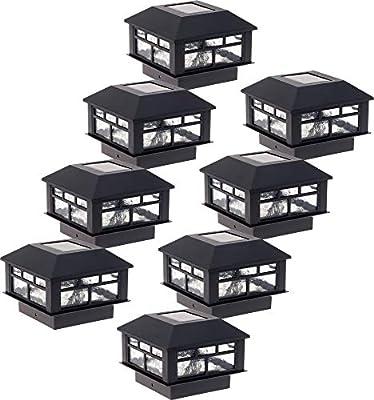 GreenLighting 8 Pack Modern Design Solar Powered 10 Lumen Post Cap Light for 4x4 or 5x5 Posts (Black)