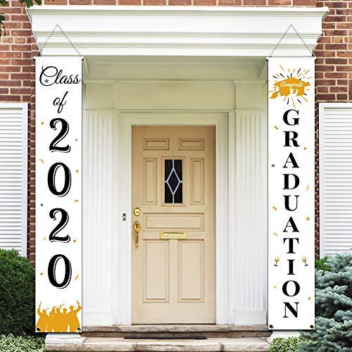 Hanging Flags Porch Sign Outdoor Home Door D/écor MORDUN Graduation Banners 2019 Congrats Grad Black Gold White Graduation Party Decorations Supplies