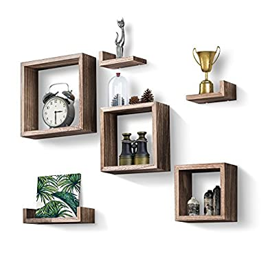 Love-KANKEI Floating Shelves Set of 7, Rustic Wood Wall Shelves 3 Square Boxes 4 Small L Shelves Free Grouping