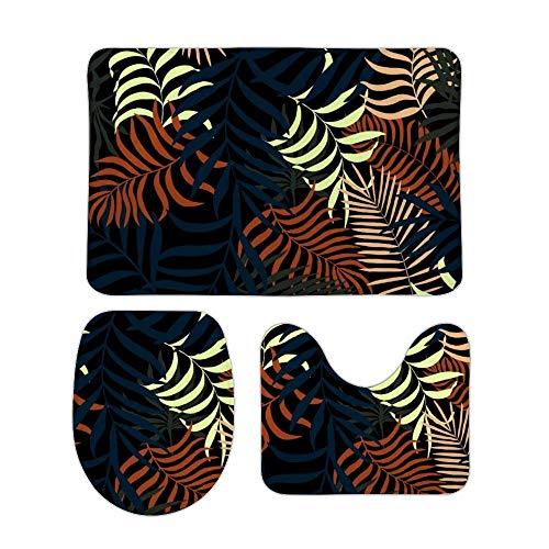 RedBeans - Juego de 3 alfombrillas de baño antideslizantes de franela para baño, decoración de jardín, oficina, pedestal, alfombrilla de ducha antideslizante, alfombra de baño