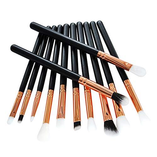 SM SunniMix 12x Pinceaux De Maquillage Pro Set Cosmétiques Power Eyeliner Foundation Blush Outils - Noir