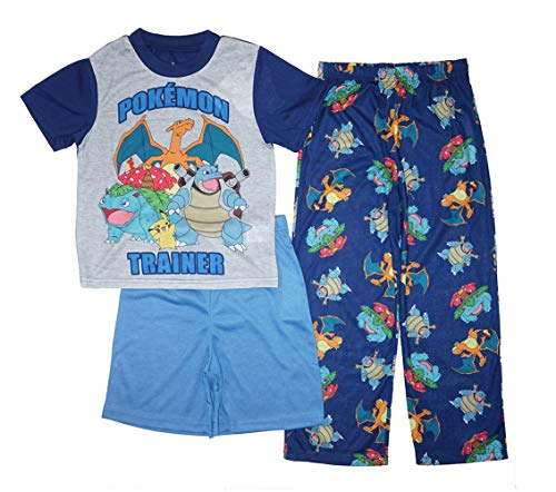 Pokemon Little/Big Boys Go Trainer Three-Piece Pajama Set (10) Gray
