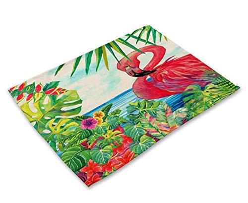 Salvamanteles 4 Unids Patron Monstera Tropical Mantel Individual Posavasos Mesa De Comedor Alfombrilla Copa Algodon Lino Almohadilla 42X32Cm Decoracion Navidena para El Hogar R