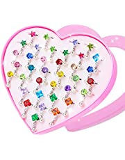 Hifot 12 Piezas Anillos Ajustables para niñas, Princesa Joyas Anillos de Dedo con Caja en Forma de corazón, Niña fingir Jugar y Vestir Anillos para niños niños niñas pequeñas