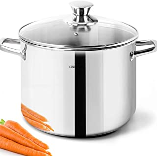 HOMICHEF Stock Pot 4 Quart Nickel Free Stainless Steel - 4 Quart Pot With Lid and Handle - 4Qt Saucepan With Lid - Soup Pot Small Cooking Pot 4 Quart - 4 Qt Pot With Glass Lid - Induction Pot With Lid
