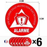 Lot de 6 autocollants / stickers Alarme sécurité / 6 cm | Design #2