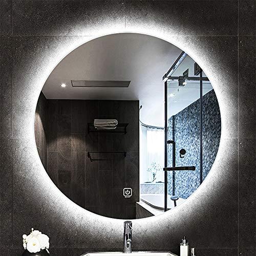 Bathroom mirror Runder LED-hinterleuchteter Badspiegel Kein explosionsgeschützter Zweifarben-Lichtschalter mit nur Einem Knopf