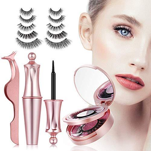 【5 Paare】3D magnetische Wimpern mit magnet Eyeliner,magnetic Wimpern,natürliche künstliche falsche Eyelashes,wasserdicht