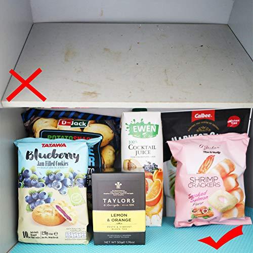 食器棚シート3巻30*150cmキャビネットシェルフシェルフライナーシンクマット接着剤不要裁断可能EVA耐熱、滑り止め、防湿、防油食器棚/引き出し/キッチンに適用家具保護(ブルー)