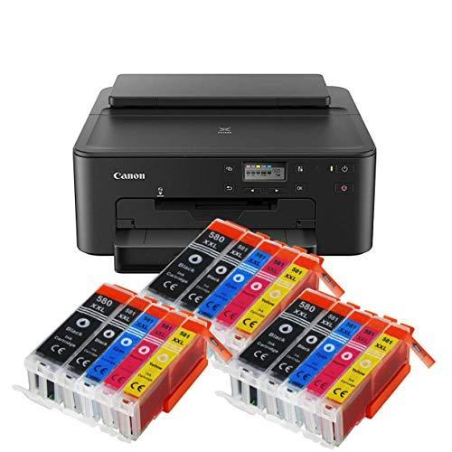 Canon Pixma TS705 TS-705 Farbtintenstrahl-Gerät (Drucker, USB, CD-Druck, WLAN, LAN, Apple AirPrint) Schwarz + 15er Set IC-Office XXL Tintenpatronen OHNE KOPIER- UND SCANFUNTKION