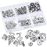 60 Sets Sewing Hooks and Snap Buttons Metal Snap Fasteners Press Studs Buttons Sewing DIY Craft Accessories for Bra Clothing Trousers Skirt Dress, 3 Sizes