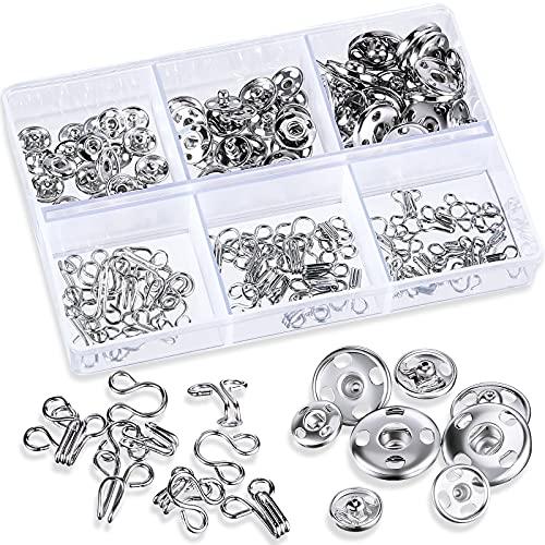 60 Sets Ganchos de Coser y Botones a Presión Sujetadores a Presión de Metal Botones de Tachuelas de Presión Accesorios de Manualidades de Costura de DIY para Ropa Vestido Falda, 3 Tamaños