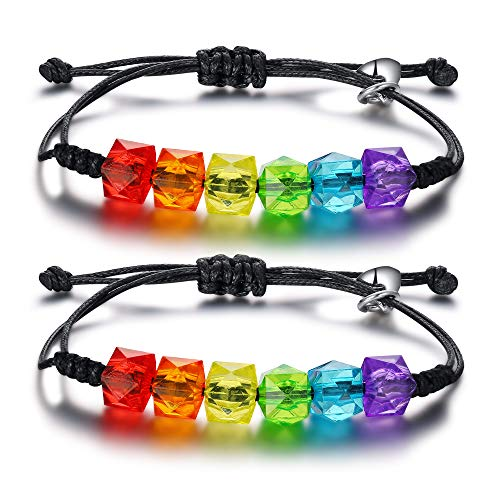 A Pair of Adjustable Rainbow Gay Pride Couple ID Bracelet Mutual Attraction Magnetic Couple Bracelet for Gay Lesbian Lover LGBT Jewellery
