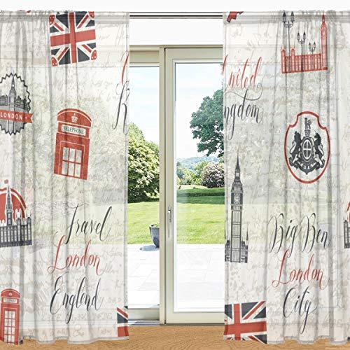 MyDaily London Vorhang mit Flaggenmuster, Retro-Stil, transparent, 2 Paneele, 139,7 x 19,8 cm, Gardinenstange für Wohnzimmer, Schlafzimmer, Dekoration, Polyester, Multi, 55